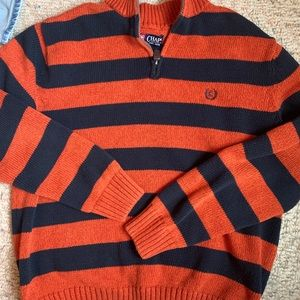 Collared Striped Sweater. Chaps